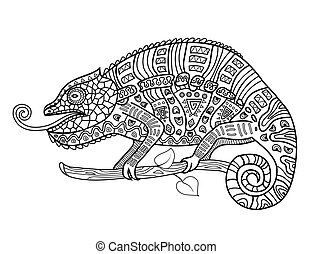 Coloring anti stress for adults. Chameleon. - Vector...
