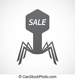 Isolated virus with    the text SALE