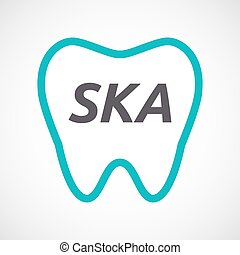 Isolated tooth with the text SKA - Illustration of an...