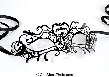 Black venetian mask - Black venetian carnival eyemask over...