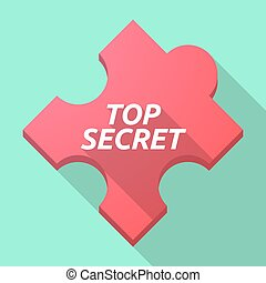 Long shadow puzzle piece with the text TOP SECRET -...