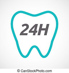 Isolated tooth with the text 24H - Illustration of an...