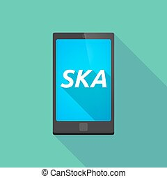 Long shadow smart phone with the text SKA - Illustration of...