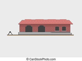 Goods shed isolated on background. Vector illustration.