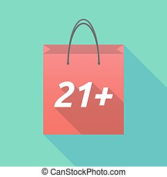 Long shadow shopping bag with the text 21+ - Illustration of...