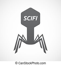 Isolated virus with the text SCIFI - Illustration of an...