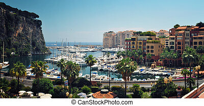 Panoramic Viev from Monaco Fontvieille Harbour - Panoramic...