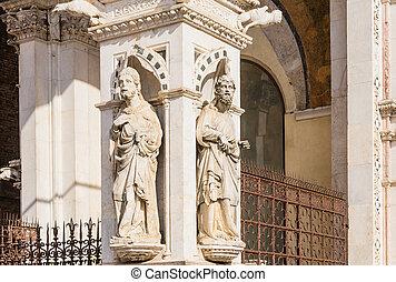 Italia, plaza, Di, detalle, fachada, Siena, Mármol,...