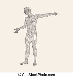Man Pointing his Finger. 3D Model of Man. Geometric Design....