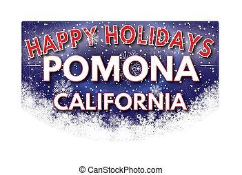 POMONA CALIFORNIA Happy Holidays greeting card - POMONA...
