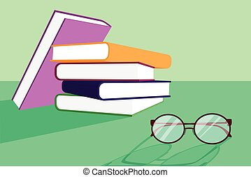 a stack of book and eye glasses
