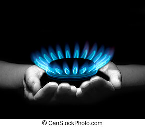 gas in hands - Hands holding a flame gas