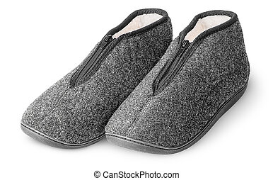 One pair comfortable dark gray slippers with fur isolated on...