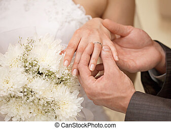 Hands of groom and bride with ring close up - Hands of the...