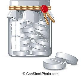 Bottle of Pills over white. EPS 8, AI, JPEG