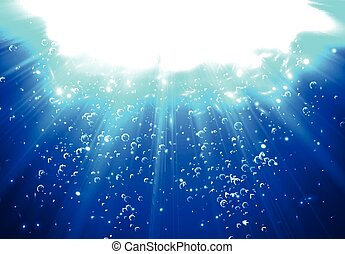 Deep Water Bubbles Dark Blue Color Illuminated By Rays Of Light