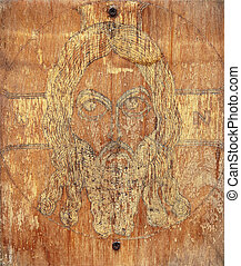 Old self-made Christian orthodox icon on plywood
