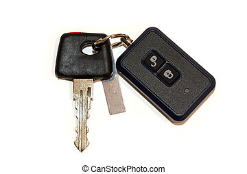 car key with remote control on white