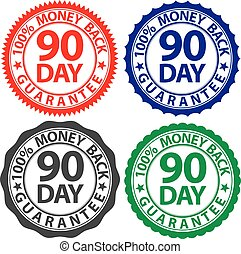 90 day 100% money back guarantee sign set, vector illustration