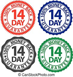 14 day 100% money back guarantee sign set, vector illustration