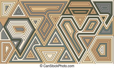 Random geometrical shapes wallpaper. Vector illustration. Abstract pattern design. Brown grey color creative figures decorative backdrop.
