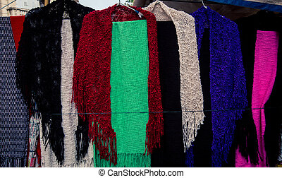 homemade colorful scarfs - Colorful handmade scarves at the...
