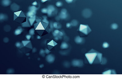 Abstract 3D Rendering of Flying Polygonal Spheres - Abstract...