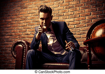 mens club - Imposing well dressed man in a luxurious...