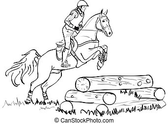 Overcoming of cross country obstacles in horse symbol vector