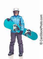 Winter sport, girl - Full length portrait of beautiful girl...