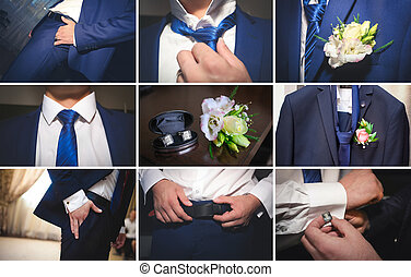 A beautiful bride in a blue suit - Beautiful bride in a blue...
