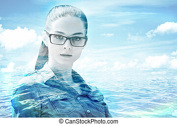 Tomorrow concept - Portrait of attractive young woman on sea...