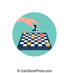 Vector icon. Chess board. Content strategy.
