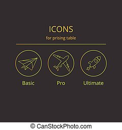Icons for tariff plans. - Vector icons paper airplane,...