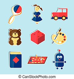 Set of vector icons for toys store.
