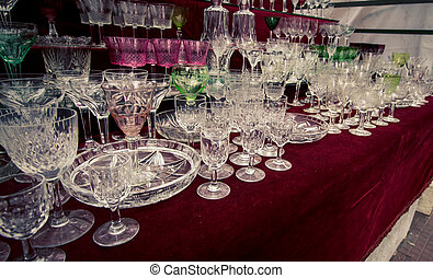 crystal ware at a flea market - Cut crystal glasses and...