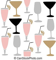 Set of hand drawn alcoholic drinks, cocktails. Seamless pattern. Isolated vector illustrations.
