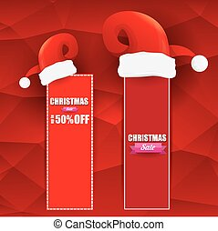 vector Christmas sales tag or label with red santa hat. Red...