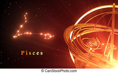 Zodiac Constellation Pisces And Armillary Sphere Over Red...