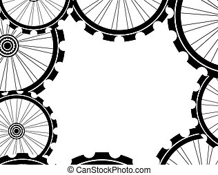 bike wheels background pattern. Pattern of bicycle wheels....