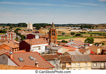 View of Astorga houses, Spain - View of church belltower and...