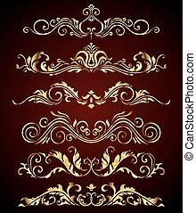 Golden vintage elements and borders set for ornate decoration. Floral swirl design spa royal logo