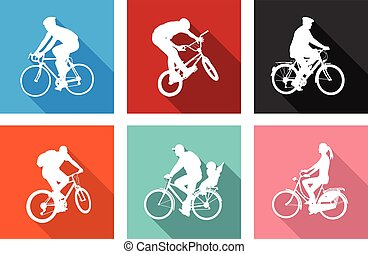 bicyclists on flat icons for web or mobile applications