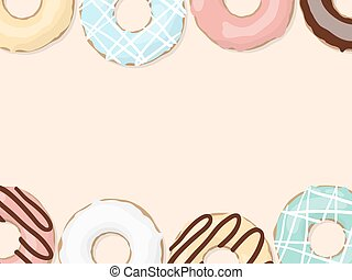 Glazed colored donuts. Vector background