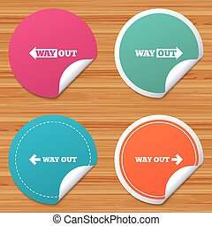 Way out icons. Left and right arrows symbols. - Round...