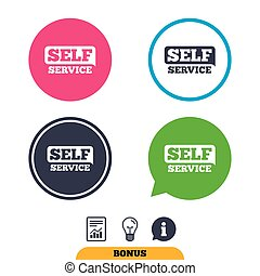 Self service sign icon. Maintenance button. Report document,...
