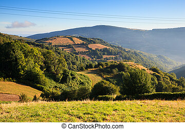 View of Galicia landscape along the way of St. James