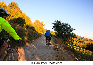 Pilgrimn bikers along the way of St. James - GALICIA, SPAIN...