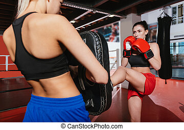 Young brunette boxer training whit her friend - Help me out...