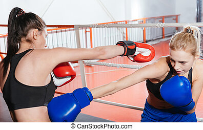 Intent skillful young athletes boxing - Dangerous hit. Swift...